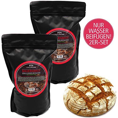 Hallingers Natürliche Brotbackmischung - 2er Sparpack (2.000g) - 2x Bauernbrot - Dinkel & Roggen Brotbackmix (Aromabeutel) - zu Weihnachten Passt immer