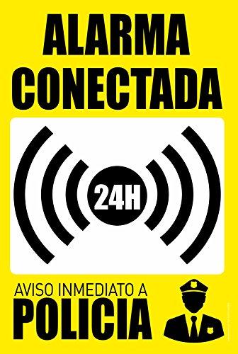 Cartel Resistente PVC - ALARMA CONECTADA 24H Aviso INMEDIATO A POLICIA - Señaletica de advertencia - señal ideal para colgar y advertir (AMARILLO)