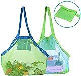 Abree Strand Aufbewahrung Tasche Netz Sandspiel Netztasche mit 6 Tasten für Sandspielzeug, Extra Große Familie Mesh Beach Bag Tote (Grün)
