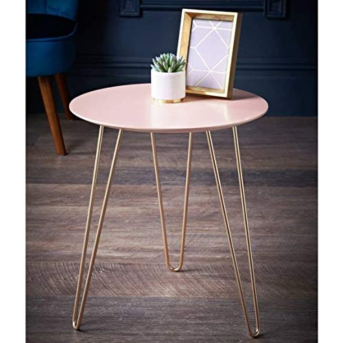 RA-HOMESTORE New Stunning Malvern Side Table -Blush & Rose Gold, Perfect For Placing Drinks