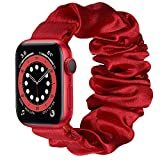 Wolait Compatible with Scrunchie Apple Watch Band 44mm 42mm, Soft Cloth Replacement Elastic Bracelet for iWatch Series SE/6/5/4/3/2/1 Women Girls,Red, 42mm/44mm-M