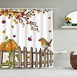 DAHALLAR Duschvorhang,Herbst Blätter Herbst Ahorn Baum Blatt Vogel Farm Holzzaun Kürbis Thanksgiving Land,personalisierte Deko Badezimmer Vorhang,mit Haken,180 * 180