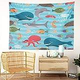 Y·JIANG Tapiz de criaturas marinas, ballena y delfín de tiburón pulpo para el hogar, tapiz grande decorativo, manta ancha para colgar en la pared para sala de estar, dormitorio, 60 x 50 pulgadas