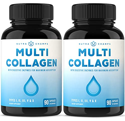 (2-Pack) Multi Collagen Pills (Types I,II,III,V,X) Double Hydrolyzed Enhanced Absorption Collagen Peptides Powder Capsules - Hair, Skin, Nails, Joints, Bone - Keto Protein Supplement for Women & Men