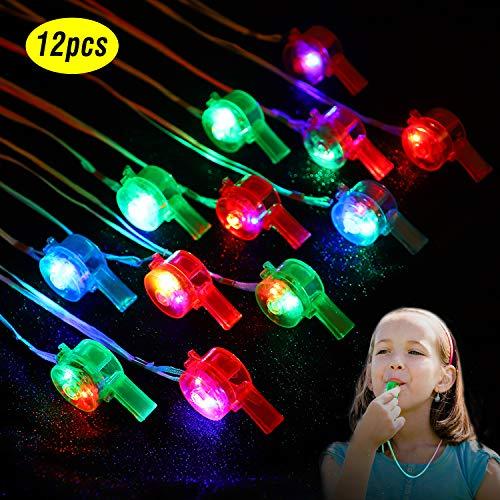Herefun Kindergeburtstag Gastgeschenke, 12Pcs LED Leuchtspielzeug Partyartikel, Jungen Mädchen Glow In The Dark Geburtstagsgeschenke Karneval Halloween Partyartikel Zubehör (Pfeifen)