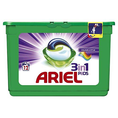 Ariel Cápsulas de lavado 3 en 1, color y estilo, 12 lavados...