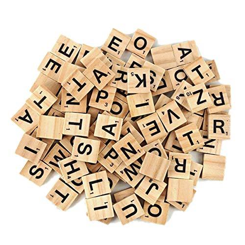 JieGuanG 100 Stück Holz Alphabet Fliesen Scrabble Ersatz Buchstaben für Brettspiele, Hochzeitsrahmen und Wandkunst