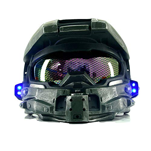 Master Chief Helmet Cosplay Props Cool Game Cosplay Novelty & Special Helmet with Led Light Men`s Costumes Prop Brown