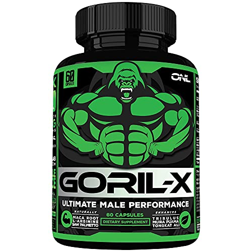 GORIL-X Men's Performance Pills - All Natural Enlargement Booster Increase Size, Strength, Energy, Testosterone & Agrandar - 1000mg Enhancing Horny Goat Weed - 1 Month Supply