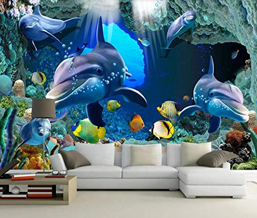 Wall Mural Wallpaper 3D Underwater World Dolphin Cave Living Room Bedroom Tv Background Wallpapers Decoration Art 300cm×210cm