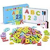 Yetech 140 piezas juego de letras y números magnéticos, bolsa de almacenamiento, imanes de espuma para nevera, para el aprendizaje de niños en edad preescolar