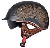 HBRE Casco Moto,Certificado CE Retro Moto-Casco,con Gafas De Sol con ProteccióN Solar Integral Casco De Seguridad,para Deportes Al Aire Libre 55-63cm,D,XL
