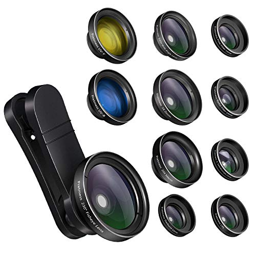 iPhone Camera Lens Kits - Pretmess 4K HD 11 in 1 Aspherical Wide Angle Lens+Super Macro+Fisheye...