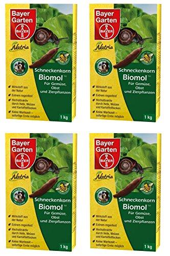 4 x 1 kg Bayer Natria Schneckenkorn Biomol Schneckenmittel