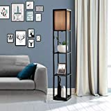 Magshion Floor Lamp with 3- Tier Shelves, Living Room Bedroom Lighting Corner Bookshelf Lamp for Home Decoration Convenience Stand and Display Shelf, Walnut