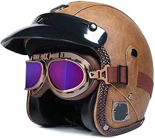 Adulto Casco de cuero de la PU de la motocicleta Chopper 3/4...