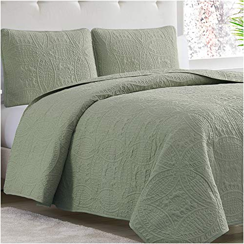 Mellanni Bedspread Coverlet Set Olive-Green - Bedding Cover - Oversized 3-Piece Quilt Set (Full/Queen, Olive Green)