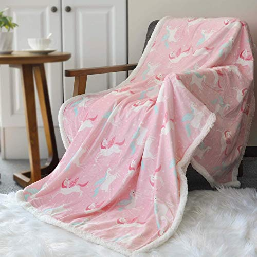 BORITAR Sherpa Throw Blanket Super Soft Warm Ultra Luxurious Fleece Blanket for Children Teens, Young Girls or Adult Minky Blanket with Sherpa Plush Backing (50 x 60 Inch , Lovely Pink Unicorn)