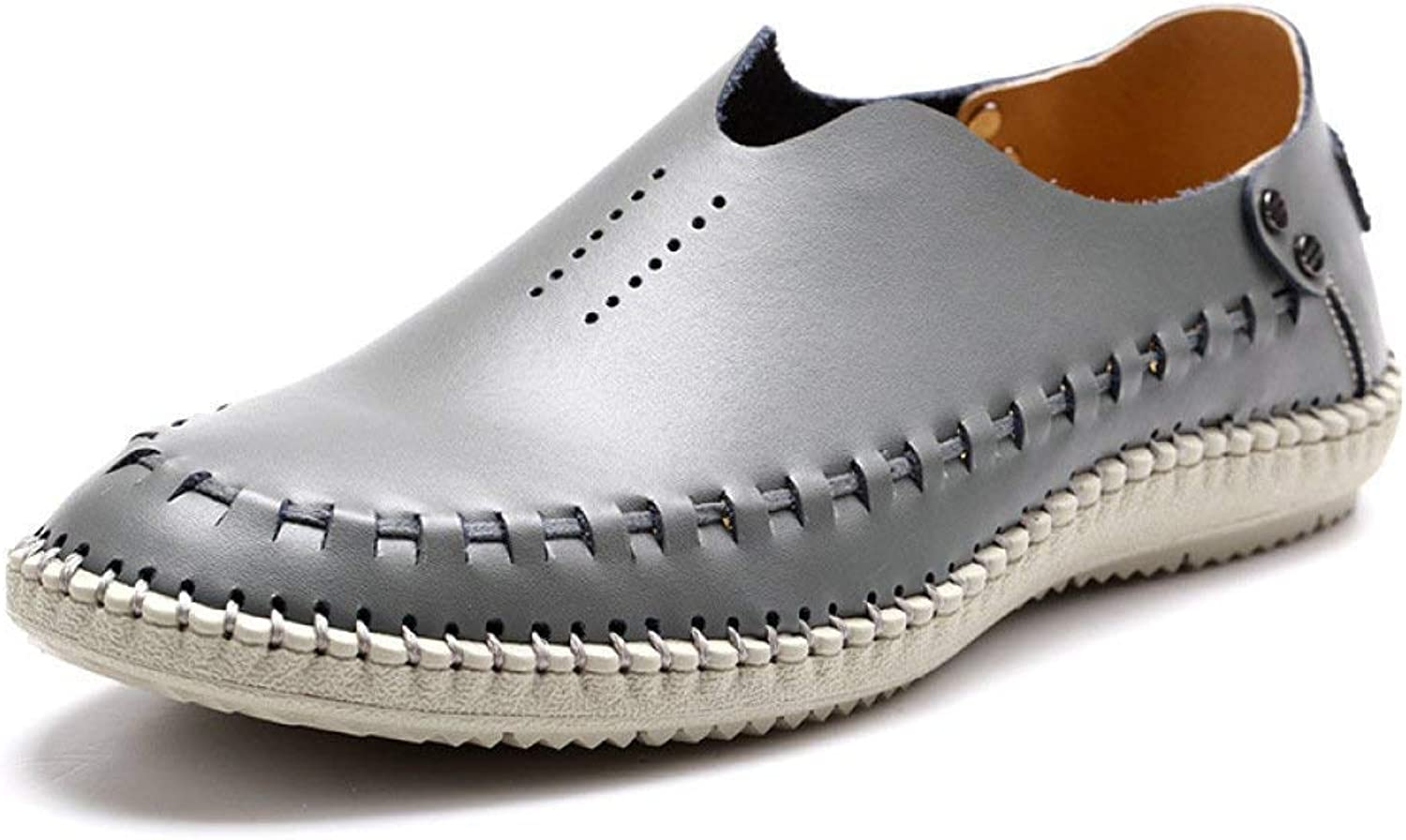 Fuxitoggo Summer New Men's Casual shoes Hollow Breathable Punch Leather Sandals Men's First Layer Of Leather (color   Grey, Size   42)