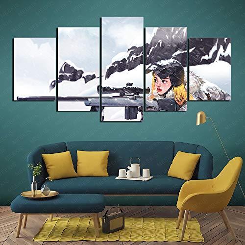 MEEKIS Familie braucht PlayerUnknowns Schlachtfelder Schneemädchen Scharfschützen-Malspiel HD Printed Painting 5 Panel 100x50cm Rahmenlos