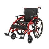 Starker Rollstuhl, klappbare Hebearmlehne, 24 Zoll, festes Hinterrad, 44 cm breiter Sitz, Leichter Rollstuhl aus Aluminiumlegierung für Erwachsene, 120 kg Rollstuhl mit Eigenantrieb