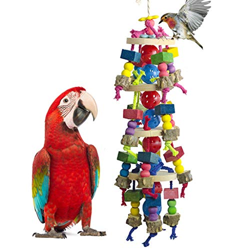 DELOKEY Large Parrot Toys - Natural Wood Large Bird Chewing Toys Suggested for Macaws cokatoos,African Grey and a Variety of Large Amazon Parrots