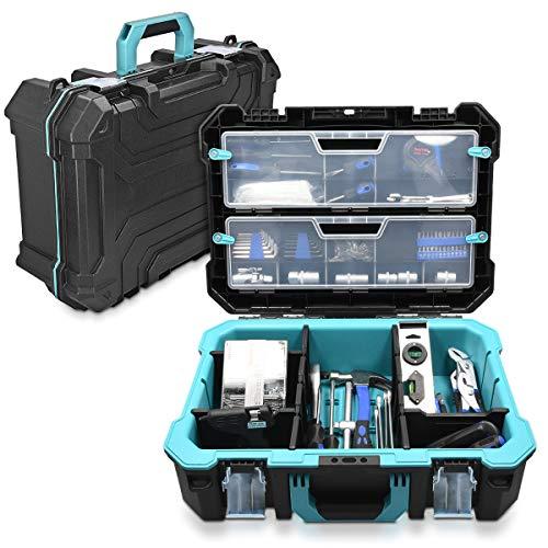 """Navaris Techniker Werkzeugkoffer 20 1/2\"""" leer - 52,5 x 38,9 x 19cm - mit 2 Stahlschließen mehrere Fächer 2 Organizer Boxen - Koffer ohne Werkzeug"""