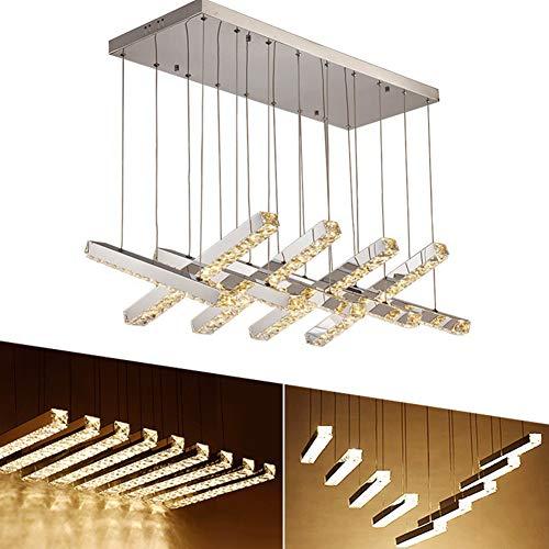 BERGHT 54W LED Kristall Pendelleuchte, 9-Flammig Dimmbare Pendellampe, Zahlreiche Variationsmöglichkeiten, Höhenverstellbar Hängeleuchte, Esstischlampe, Edelstahl, Esszimmerlampen Hängelampen Modern