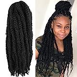 6 Packs Marley Twist Braiding Hair 24 Inch Long Afro Kinky Curly Marley Crochet Hair Kanekalon Synthetic Marley Braids Hair Extensions Marley Hair For Women (24Inch, 1B)