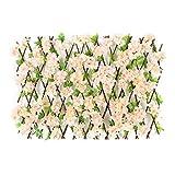 Paneles de valla de plantas de jardín artificial | Valla extensible Pantalla de privacidad Flor artificial Hojas Valla Valla de madera Cogollos Decoración de jardín para balcón Patio al aire libre