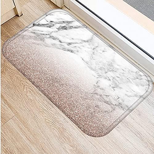 HLXX Marble Printed Kitchen Entrance Door Mat Coral Velvet Carpet Rubber Indoor Floor Mats Colorful Non-Anti-Slip Rug A15 40x60cm