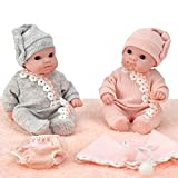 Mommy and Me 8 Inch Newborn Twin Baby Dolls, Vinyl Body Boy and Girl Twins with Rompers, Hats, Furry Blanket, Swaddle, and Bloomer