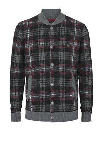 Merc Clothing Melrose Chunky Check Cardigan para hombres Mineral Marl M