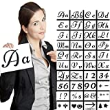 Larger Alphabet Letter Stencils, Reusable Plastic Number Templates Stencils for Art Drawing,Craft DIY Writing on Chalkboard,Wood,Signage,Bistro,Fabric Garden Flag, Stone-40 Pieces,80 Pattern