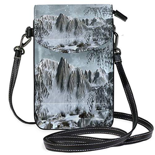 XCNGG Monedero pequeño para teléfono celular Snow Ice Mountains Landscape Cell Phone Purse Wallet for Women Girl Small Crossbody Purse Bags