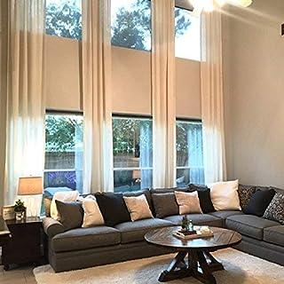 "Ikiriska Extra Long Luxury Solid Linen Curtain Custom Made 12 13 14 15 16 17 18 20 24 ft Off White Beige Gray Dark Blue 2 Story Drapes (Off White, 50"" Wx144 L)"