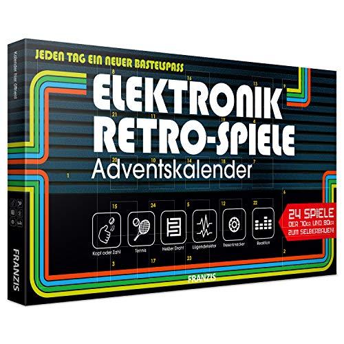 FRANZIS Elektronik Retro Spiele Adventskalender 2019 | 24 Spiele der 70er und 80er zum Selberbauen ohne Löten | Jeden Tag ein neuer Bastelspaß | Ab 14 Jahren