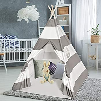 Sumbababy Teepee Tent for Kids with Carry Case Natural Cotton Canvas Teepee Play Tent Toys for Girls/Boys Indoor & Outdoor Playing  Stripe