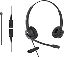 DailyHeadset RJ9 Corded Office Phone Noise Canceling Headset for Aastra Avaya Alcatel-Lucent Allworx AltiGen Digium IPitomy Landline Telephone (Binaural)