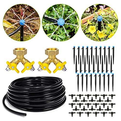 HIRALIY 100ft Drip Irrigation Kit Plant Watering System 8x5mm Blank Distribution Tubing DIY Automatic Irrigation Equipment Set for Garden Greenhouse Flower Bed Patio Lawn