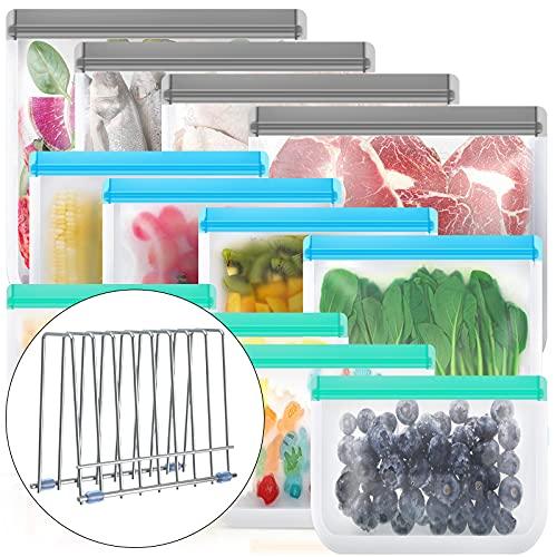 Reusable Storage Bags,12 Pack BPA Free Reusable Freezer Bags (4 Reusable Sandwich Bags, 4 Reusable...