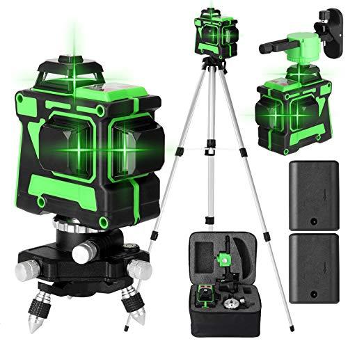 KKmoon 3D 12 Linee Livella Laser Autolivellante, 3x360° Linea Laser Verde a Croce Orizzontale e Verticale,Generatori di Linea Laser Autolivellante con Treppiede 1,5 m 3 Altezze Regolabile,2 Batterie