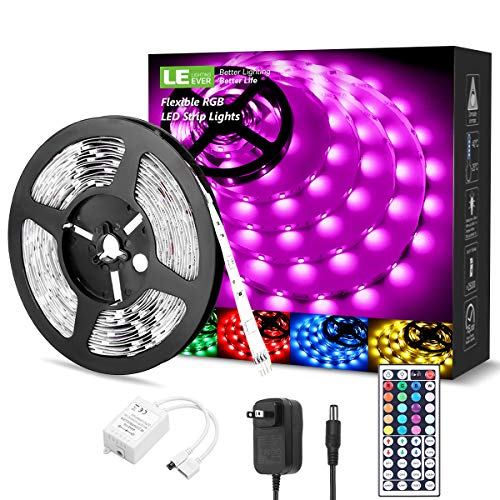 LED Strip Lights 16.4ft, RGB LED Light Strip, 5050 SMD LED Color Changing Tape Light with 44 Keys Remote and 12V Power Supply, LED Lights for Bedroom, Home Decoration, TV Backlight, Kitchen, Bar