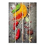 Bilderwelten Cuadro de Madera - Spoons with Spices 70x48cm
