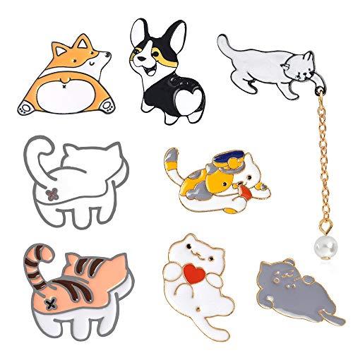 Broche Dibujos Animados Gato, 8 Piezas Broche con Insignia de Gato, Lindo Broche Pins de Solapa, Insignia Pin Gato, Pin Solapa Esmalte Lindo, para Ropa Collar Bolsa Chaqueta Accesorio DIY Craft