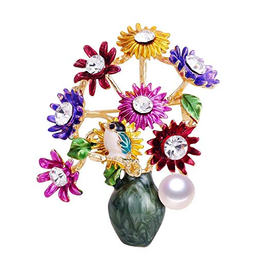 YRFZ Women's Brooches & Pins Pearl Brooch Flower Vase Brooch for Women Creative Enamel Brooch Pins Brooches Natural Freshwater Pearl Jewelry