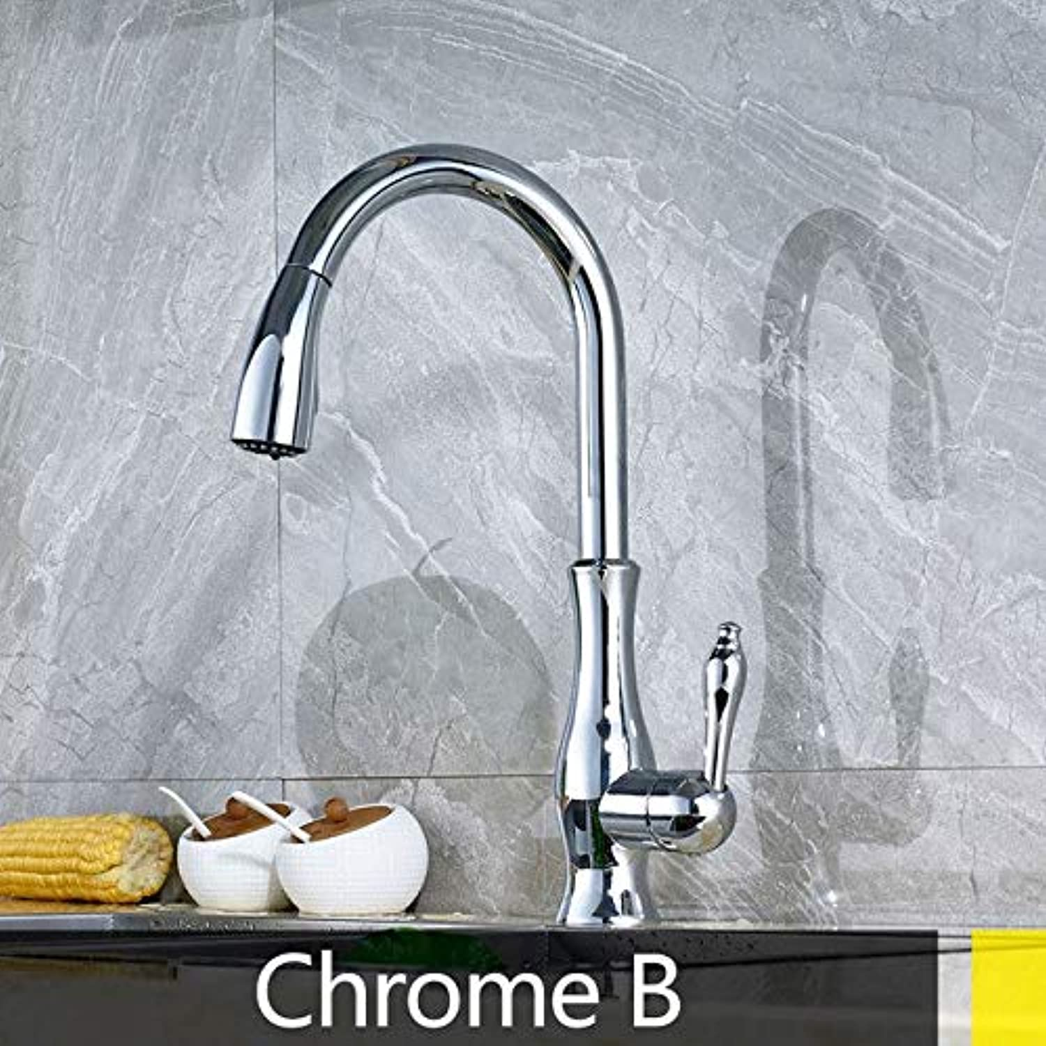 U-Enjoy Chandelier Ktichen Tap New Multiple and Top Quality color Type Hot Cold Mixer redatable Pull Out Crane 2 Function Modes Spout Sink Faucet Free Shipping [Chrome B]