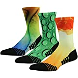 HUSO Novelty Colorful Socks, Men Women Unique Design Athletic Quick Dry Crew Cycling Basketball Breathable Socks 3 Pairs(Multicolor, L/XL)