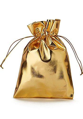 30 bolsitas opacas de tela organza, bolsas de organza color dorado metálico, bolsas para regalos, calendario de Adviento, decoración navideña, fiestas, dorado (20x13cm)