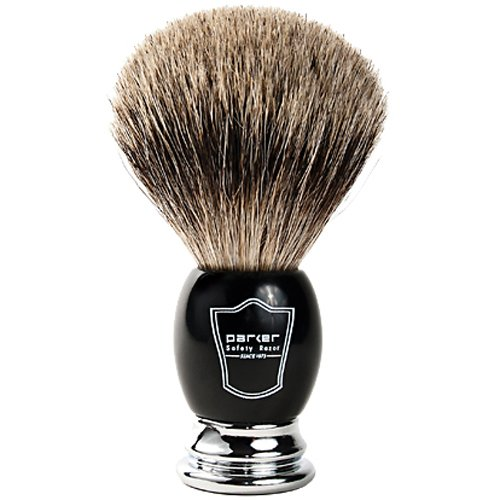 Parker Safety Razor, Premium 3 Band Pure Badger Shaving Brush with Stand Included - Packaged in a Gift Box - Generate a Thick & Luxurious Lather with Your Favorite Shave Soap - Black & Chrome Handle